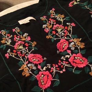 Loft Floral Embroidered Bell Sleeve Top